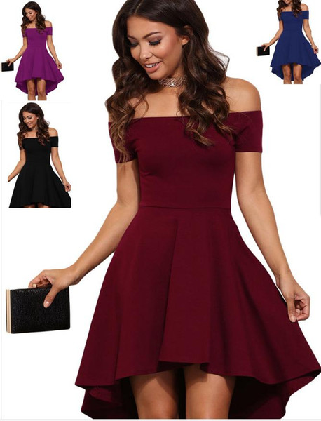 Fall Burgundy high low skater dress plus size women clothing summer 2017 new style mini dress drop shoulder casual dresses curvy women