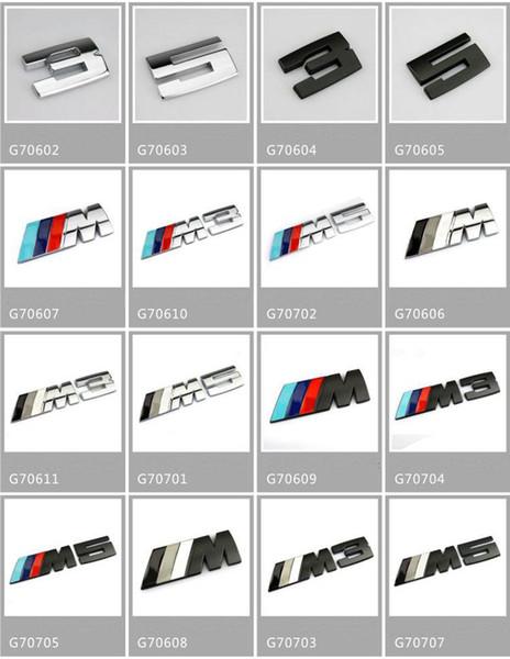 avec le paquet de détail CAR BADGE / bâton argent M3M5 adhésif logo Autocollants de décoration de voitures pour BMW autocollant Métal 3D autocollant de voiture 16 styles
