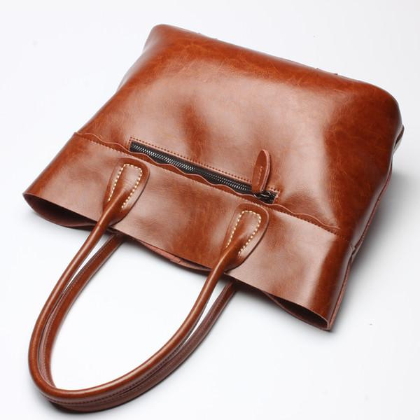 Genuine Leather Totes for Woman Simple Fashion Handbags Ladies Casual Bag Shoulder Bags Black/Brown FA016