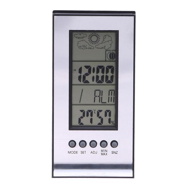 Electronic Temperature Humidity Meter Alarm Clock Snooze Forecast Calendar Wireless Weather Station Indoor Outdoor