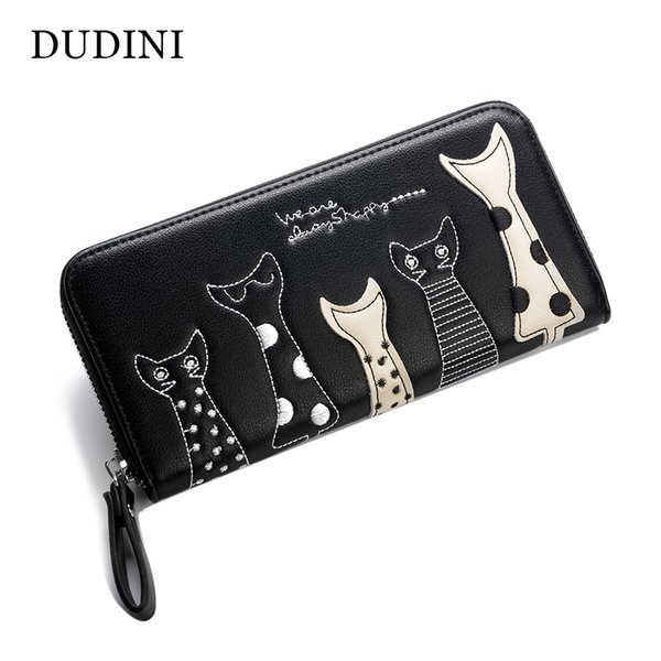 Europe Women Cat Cartoon Wallet Long Creative Female Card Holder Casual Zip Ladies Clutch PU Leather Coin Purse ID Holder
