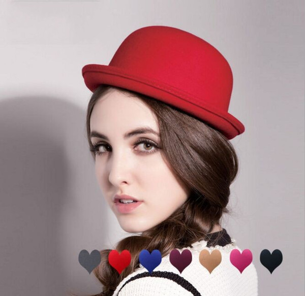 7colors Fashion Vintage Woman Wool Cloche Hats Cap Winter Elegant Plain Bowler Derby Small Fedoras Hat Ladies hats by alice