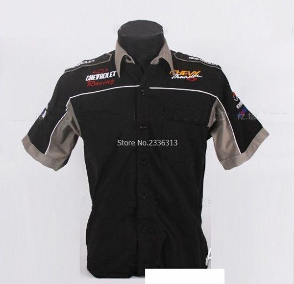 Оптовая продажа-лето для Chevrolet мотоцикл авто гонки гонщик рубашки с коротким рукавом MOTO GP мода костюм хлопок воротник рубашка
