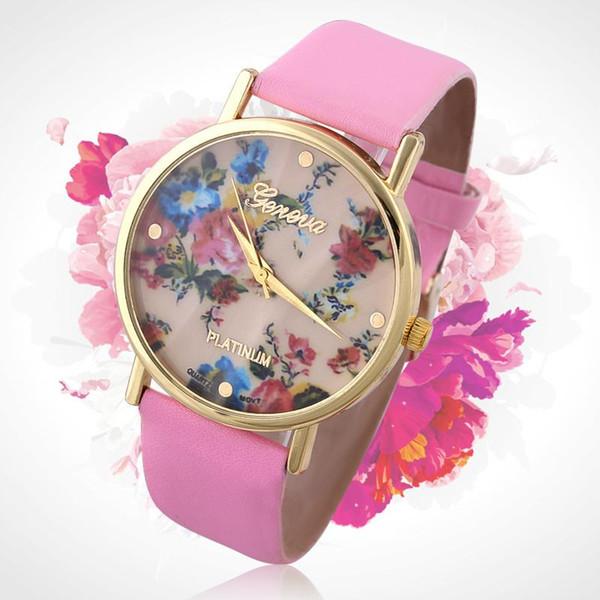 Fasjion Vintage Rose Flower Geneva Watch Women Imitation Leather Quartz Dress Watches Casual Ladies Rhinestone Wristwatch New Arrical