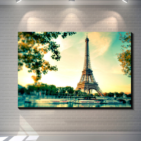 2018 Vintage Eiffel Tower Pictures Painting Canvas Poster Painting ...