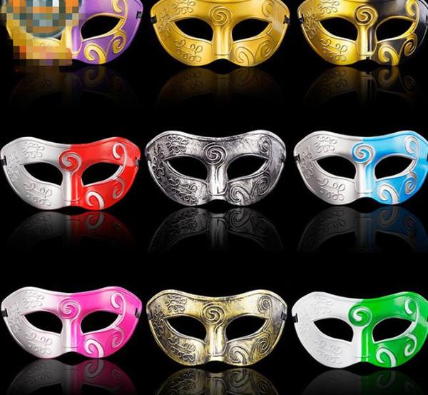 Üst erkek retro Greco-Roma Gladyatör masquerade maskeleri Vintage Altın / Gümüş Maske Karnaval Maskesi Mens Cadılar Bayramı Kostüm Partisi Maske B575