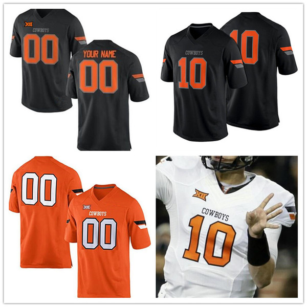 Custom Oklahoma State Cowboys College Football black orange white Stitched Any Name Number 1 Jalen McCleskey 5 Justice Hill Jerseys S-4XL