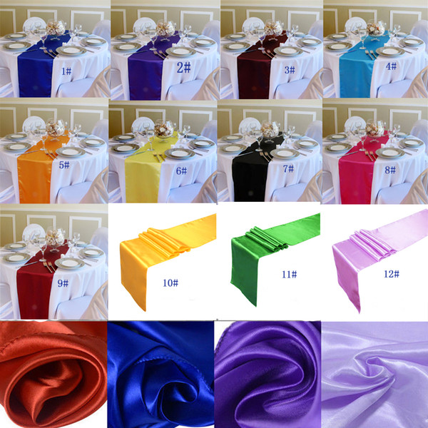 best selling 10PC Table Runner Satin Table Runners for Wedding 12X108 inch Satin Ribbon Cloth Table Runner Flag of Wedding Banquet Decors