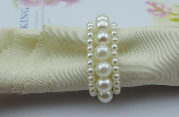 Hot selling White color Shiny Pearls Napkin Rings For Wedding Banquet Party Table Decoration Accessories Free Shipping