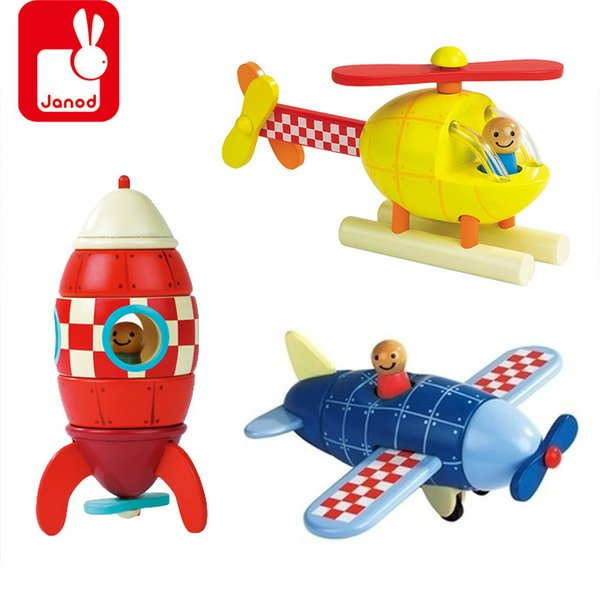 Janod Wooden Magnetic Combined Blocks Child Eduacational Toy Plane/Rocket /Helicopte 3Kind For Choose Blocks Vehicle Toy Gift