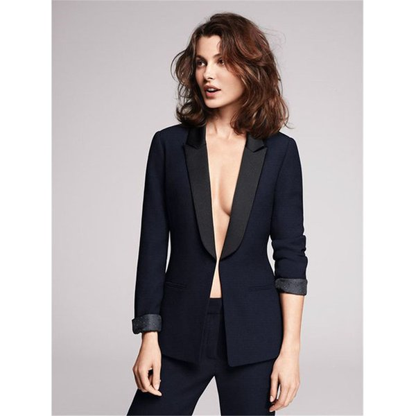Women Pant Suits Design ladies business trouser suits female formal work wear 2 piece black groom tuxedos custom made