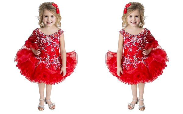 Free Shipping Beauty Little Girl Cupcake Skirt With Beaded Red Flower Cute Infant Prom Ball Gowns Mini Pageant Dress