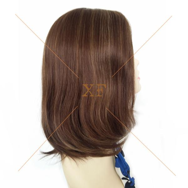 Jewish remy highlight color 16 inch human hair wig silk top moveable parting looks so real