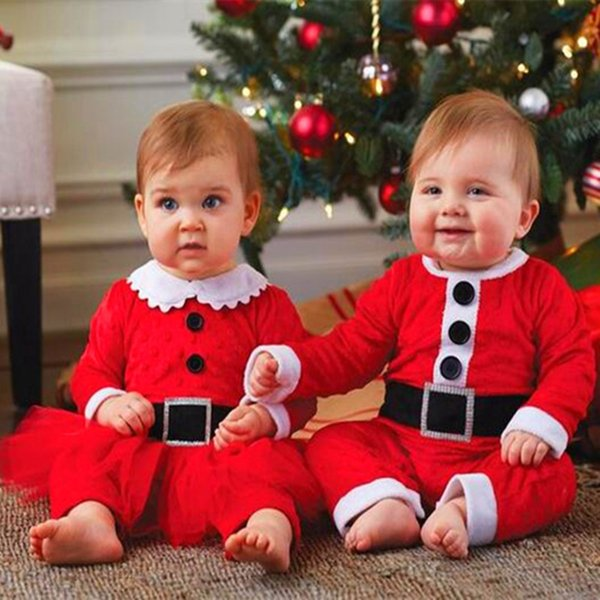 Christmas Baby Rompers Boys Girls Santa Claus Romper Infant One-Piece Clothing Baby Christmas Rompers with Hats 2 Pieces For 0~24 M Baby