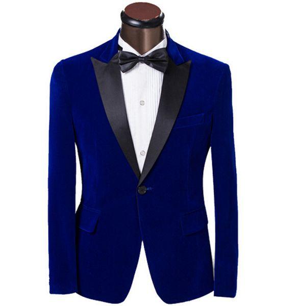 New Elegant Royal Blue Velvet Groom Tuxedo Jacket Black Lapel Mens Blazer Slim Fit Suit Men Wedding Suits (Jacket+Pants)