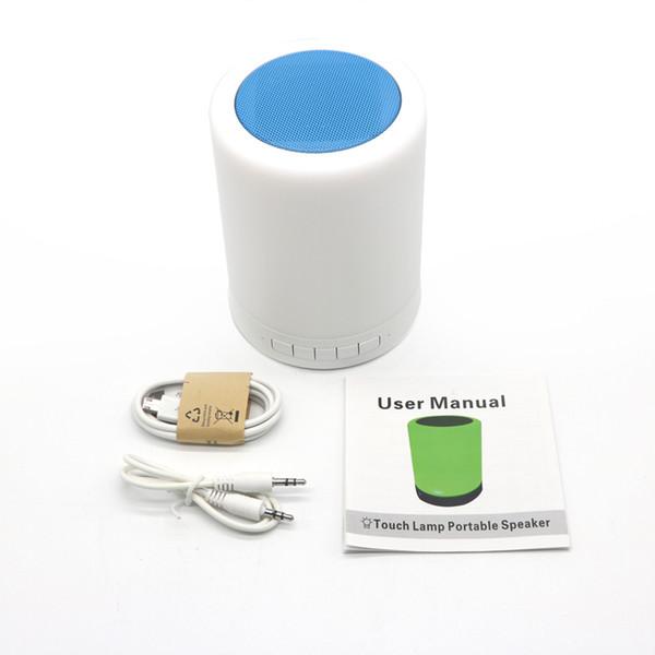 Smart Wireless Bluetooth-Lautsprecher Stereo blau / pink / weiß Berührungssensor Nachttisch hell Dekor LED Dimmbar Nachtlicht Tragbarer Musik-Player