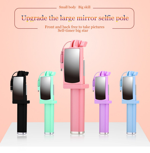 Colorful Foldable Mini Wired Selfie Stick with mirror portable Extendable Monopod line control shutter Handle selfie pole for cell phone