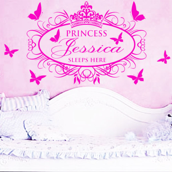 Customer Made Personalised Name Princess Crown Butterfly Wall Art ...