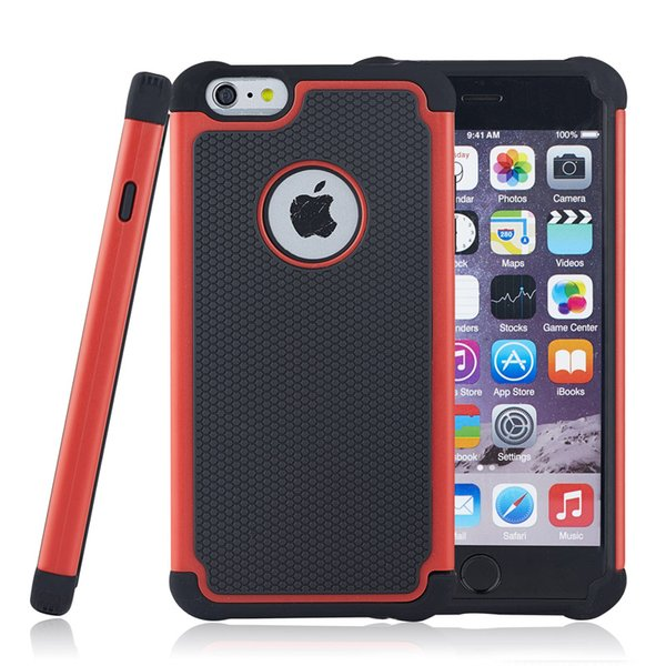 Híbrido Hard Armor Cases Pesado a prueba de golpes 2 en 1 PC + Funda de silicona Cove para iPhone 4S 5S 6S 7 Plus iPod Touch 5