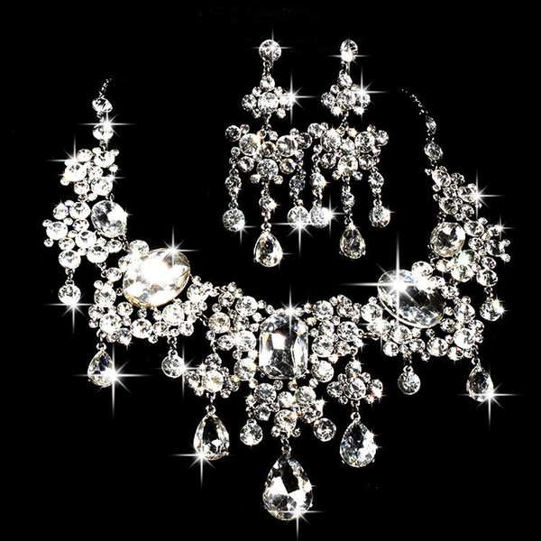 2019 Sparkly Beaded Crystals Wedding Accessories Diamond Necklace Jewelry Sets Bridal Earrings Rhinestone Crystal Party Cheap Free Shipping