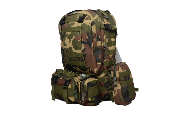 1pcs big bag+3pcs small bags backpacks cs military backpack men women's outdoor sports climbing mountain army camouflage bags belt 55l thumbnail