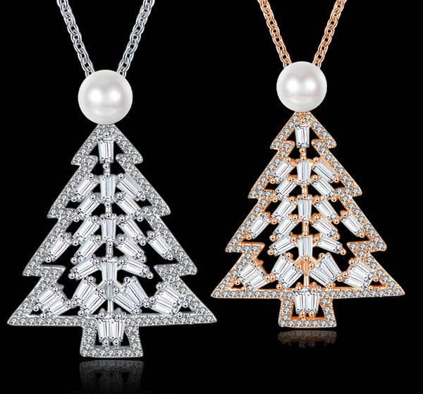 2017 Christmas Pendant Necklace Creative Christmas Tree Necklace Silver Rose Gold Plated Zircon Pendant Necklace Best Xmas Gift for female