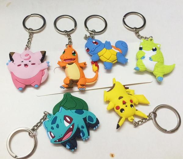 Poke Figures Keychains Toys 6 Styles Kids Pikachu Sylveon Charmander Bulbasaur Jeni Turtle Keychains Car Keyring Backpack Pendant 5E