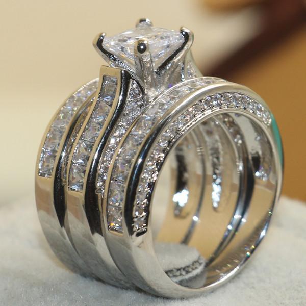 SZ 5-11 Victoria Wieck mujeres joyería de lujo 7mm princesa corte blanco zafiro simulado diamante gema 925 plata esterlina boda 3IN1 anillo de la banda