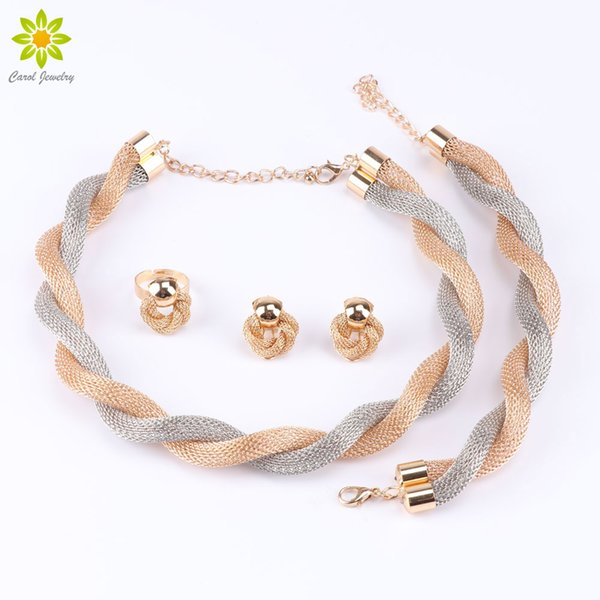 Dubai African 18k Gold Plated Exaggerated Choker Necklace Earrings Bracelet Ring Fashion Wedding Bridal Costume Jewelry Sets