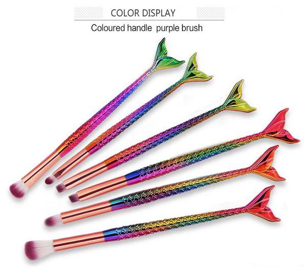 Mermaid Makeup Brushes 6pcs/set Eyeshadow Brushes Beauty Rainbow Colorful Cosmetics Brushes Sets Makeup Tool