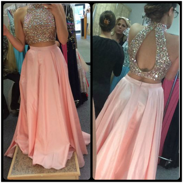 Prom Dress 2017 Unique Design High Neck Beaded Crystals Peach Pink Satin Evening Formal Party Gowns Long Homecoming Dresses Australia 2020 From
