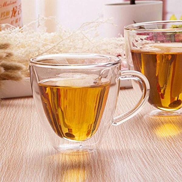 1 pc Newly Arrived 240ml Heart Double Wall Layer Clear Transparent Glass Tea Cup Coffee Mug Gift