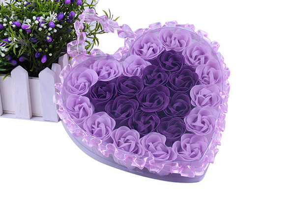 Heart Shape Lace Box (24pcs/box) Handmade soap base Romantic Rose Flower Petal Shape Nature Essential Oil Bath Soap 2 Color in one box