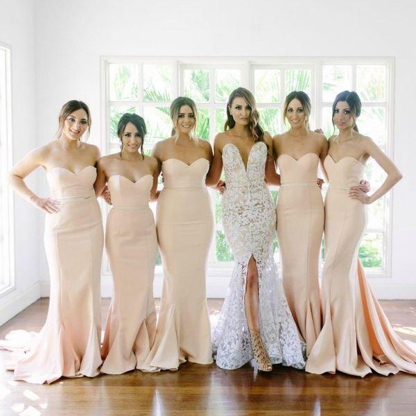 Blush Pink Sirena Satén Vestidos de dama de honor 2017 Sweetheart Vestidos de fiesta de boda largos sin respaldo sexy Vestidos de noche de Robe Demoiselle D'honneur