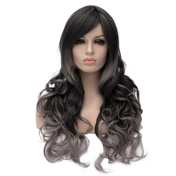 WoodFestival grey black ombre wig wavy high quality long wigs heat resistant synthetic fiber wigs for women natural curlyhair wigs 68cm