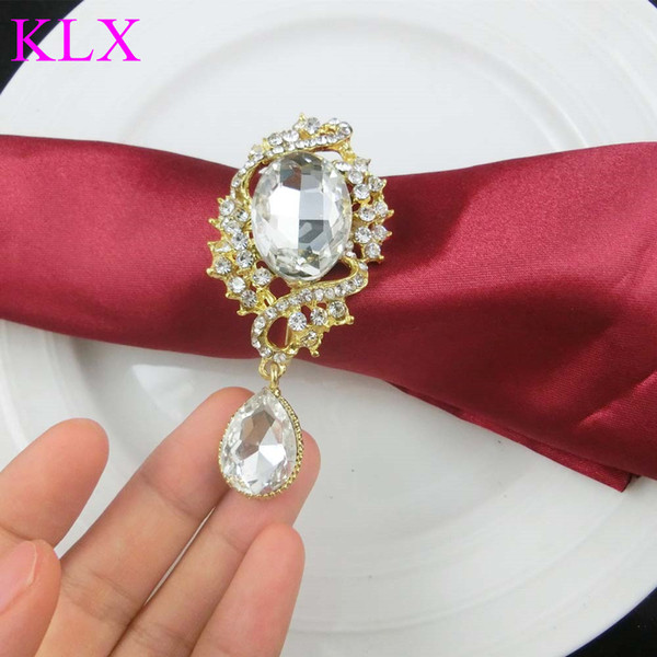 Wholesale!Hot sell (200pcs/lot)Gold Plating Droplet Rhinestone Napkin Ring For Wedding Table Decoration ,Pre -Order