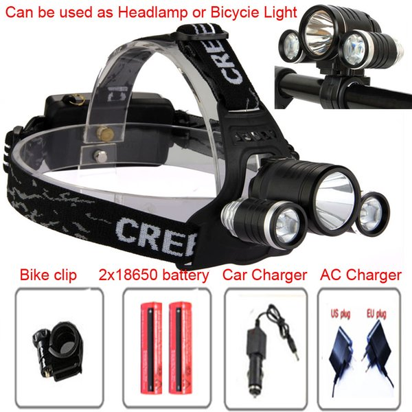 20pcs/lot 6000 Lumens 3x CREE XM-L T6R2 LED Headlight 3T6 Headlamp Bicycle Bike Light Waterproof Flashlight