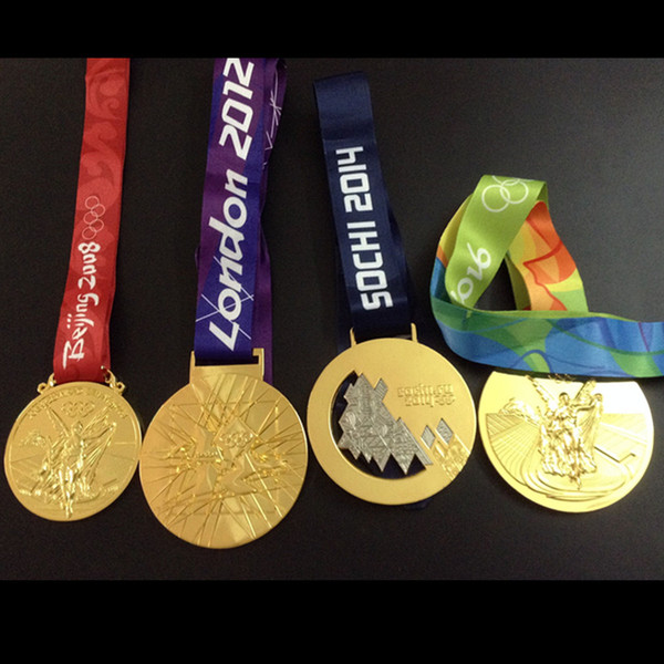 top popular Olympic medals 2004 Athens 2008 Beijing 2012 London 2014 Sochi 2016 Rio gold silver bronze medal badge sport with ribbon 2021