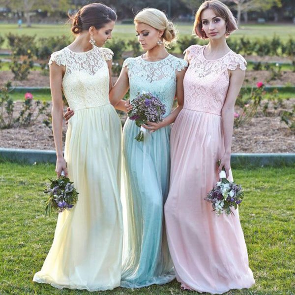 New Fashioned Colorful Aline Long Bridesmaid Dress Jewel Lace ...