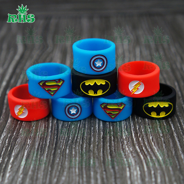 12*18 mm silicone vape band ring for ecig box moid Decorative and protection vape mod Superhero DHL free shipping-S-03