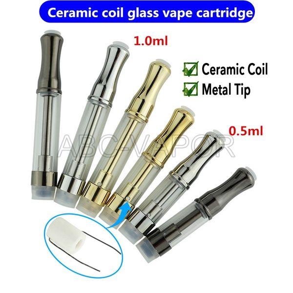 top popular Ceramic wickless vape cartridge 510 tread atomizer thick oil vape cartridge ceramic oil tank vaporizer with .5ml 1.0ml 2021