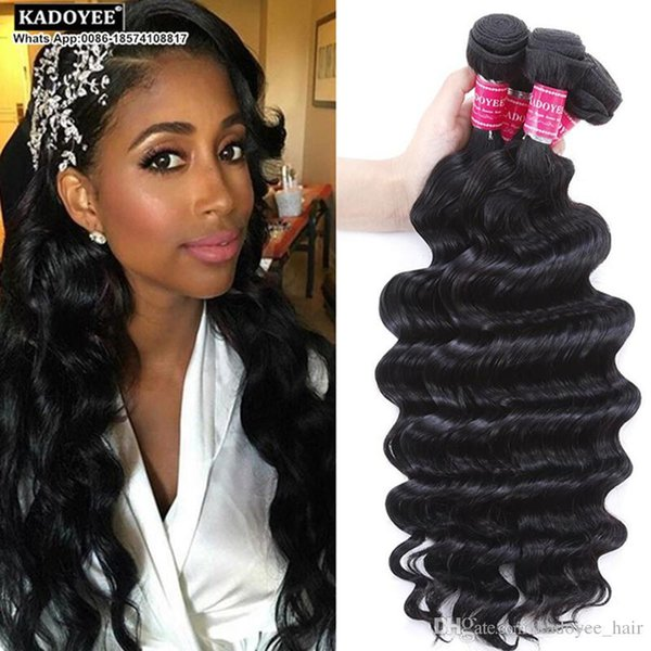 Kadoyee 8A 100% Unprocessed Brazilian Virgin Remy Hair Extension Loose Deep Wave Human Hair Weft Natural Black Color Soft Thick Healthy End