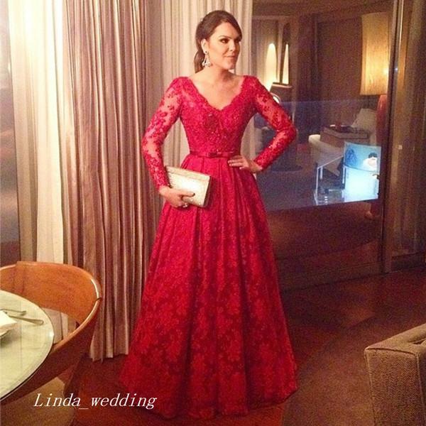 2019 Red Long Sleeves Evening Dress Elegant Lace Prom Dress Formal Event Gown Plus Size robe de soire vestido de festa longo