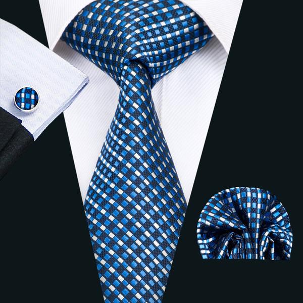 Classci Silk Mens Necktie Blue Tie Sets Checks Mens Ties Tie Hanky Cufflinks Set Jacquard Woven Meeting Business Wedding Party Gift N-1419