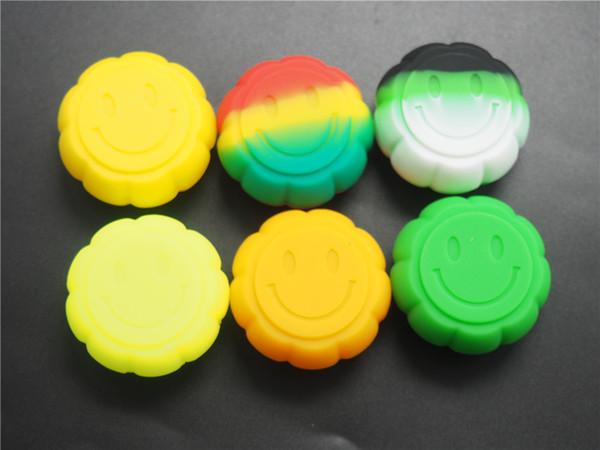 100X Calabaza Forma Contenedor 5 ml Siliocne Recipiente antiadherente Para E-cig Cera Aceite de silicona contenedor Color surtido