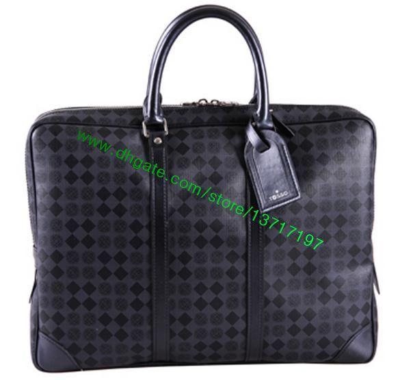 Top Grade Black Plaid Canvas Coated Real Leather Men PORTE-DOCUMENTS VOYAGE N41125 Handbag Fashion Designer Briefcase Bag