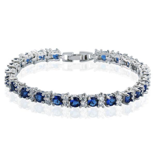 "crystal bracelet Deep Round-cut Blue Sapphire gold chain Tennis Bracelet Women's Party Jewelry High Quality 7"""