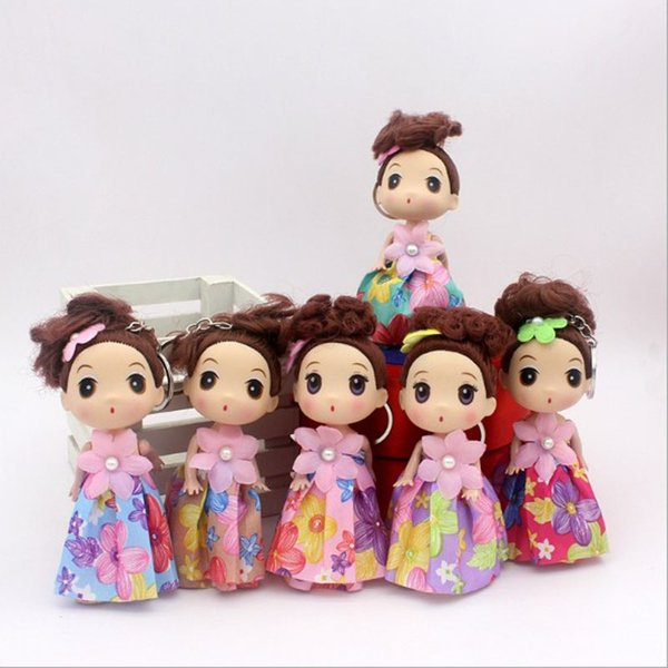 20pcs/lot 12cm New Lovely Dress Cloth Wave Point Confused Doll Car Key chains Female Pendant Vinyl Girl Wholesale