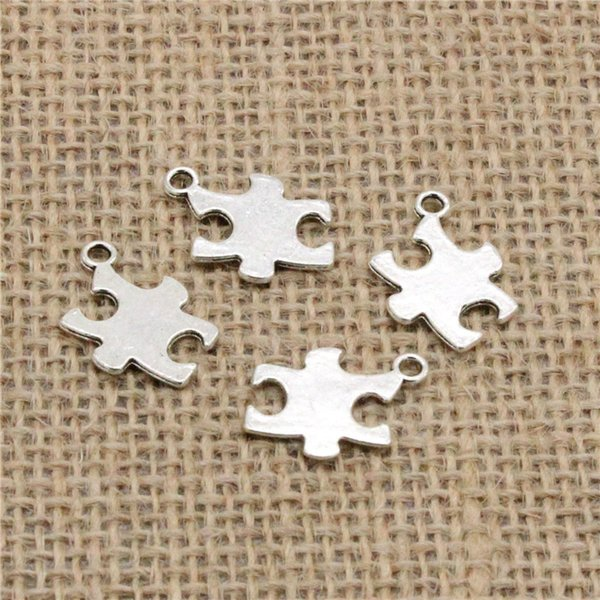 Wholesale 100pcs Charms Tibetan Silver Plated jigsaw puzzle piece autism awareness 20*14mm Pendant for Jewelry DIY Hand Made Fitting