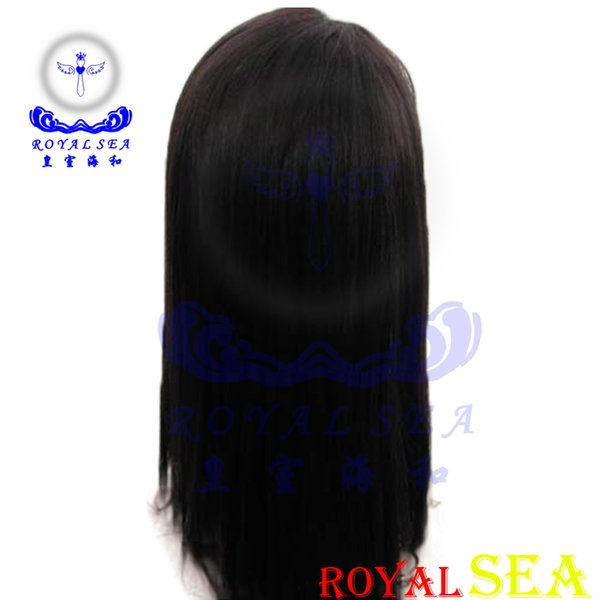 Celebrity style Human wigs loose body wave Hair Wig Natural black 1B color with side bangs pelucas black women Machine Made wigs